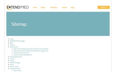 Screenshot of Site Map Page extendmed.com - Sitemap | ExtendMed, Inc. - captured July 18, 2016