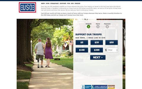 Screenshot of Landing Page uso.org - Donate | USO.org - captured Oct. 27, 2014