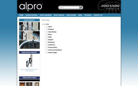 Screenshot of Site Map Page alpro.co.uk - Alpro Sitemap for our range of access control and architectural door hardware products - captured Feb. 5, 2016