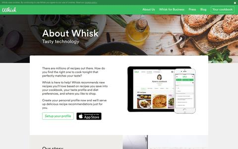 Screenshot of About Page whisk.com - About | Recipe Recommendations I Grocery Shopping List - captured Aug. 22, 2016
