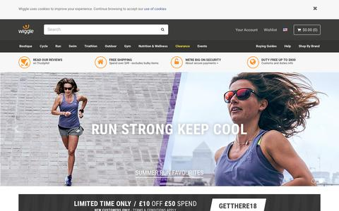 Screenshot of Home Page wiggle.co.uk - Wiggle | Cycle | Run | Swim | Tri-Sports & Bike Shop - captured June 28, 2018