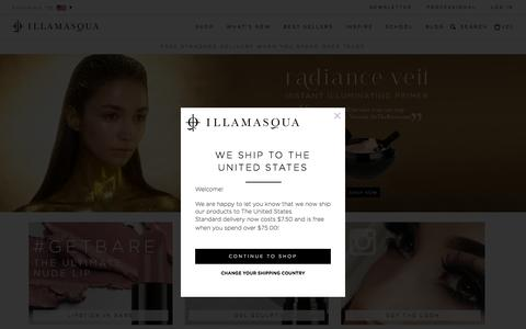 Screenshot of Home Page illamasqua.com - Illamasqua Make-up - Foundation, Lipstick, Contouring, Blusher, Professional makeup - captured Oct. 1, 2015
