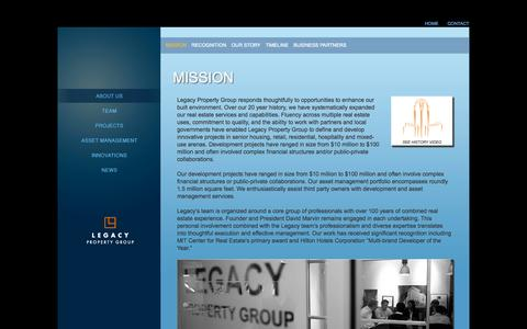 Screenshot of About Page legacyproperty.com - The Mission of Legacy Property Group - captured Oct. 2, 2014