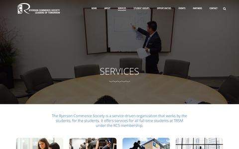 Screenshot of Services Page rcsonline.ca - Services | Ryerson Commerce Society - captured Feb. 15, 2016
