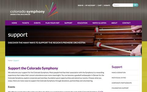 Screenshot of Support Page coloradosymphony.org - Support Colorado Symphony | Denver, CO - Classical Concerts - captured Sept. 19, 2014