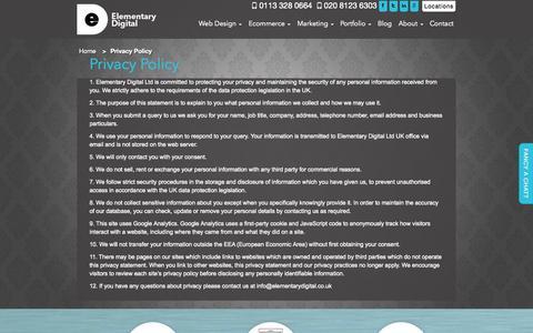 Screenshot of Privacy Page elementarydigital.co.uk - Privacy Policy | Elementary Digital - captured Sept. 29, 2014