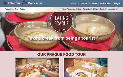 Screenshot of Home Page eatingpraguetours.com - Eating Prague Tours - Food Tours in Prague - captured Sept. 18, 2015