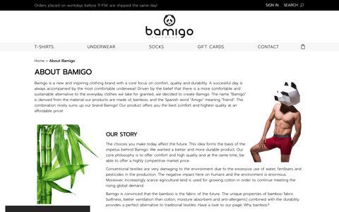 Screenshot of About Page bamigo.com - Buy your bamboo undergarments at Bamigo.com - captured Nov. 13, 2018