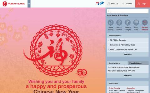 Screenshot of Home Page pbebank.com - Public Bank Berhad - Personal Banking - captured Feb. 4, 2016