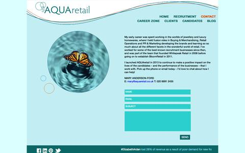 Screenshot of Contact Page aquaretail.co.uk - AQUAretail | London retail recruitment agency - captured Sept. 30, 2014