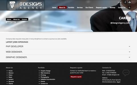 Screenshot of Jobs Page a-designs.net - @Designs Agency         | Careers - captured Oct. 7, 2014