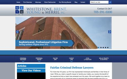 Screenshot of Home Page wbymlaw.com - Fairfax Criminal Defense Attorneys | Northern Virginia Trial Lawyers | Annandale Injury Lawyer - captured Oct. 8, 2014