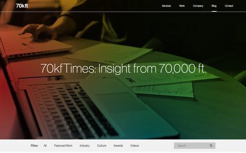 Screenshot of Blog 70kft.com - Dallas Brand Marketing Agency, SEO Services  | 70kft - captured Oct. 27, 2014