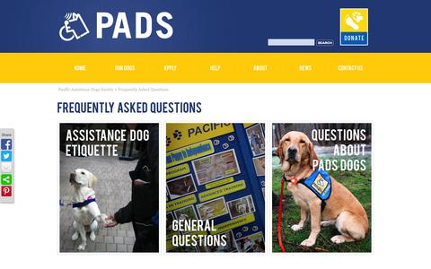 Screenshot of FAQ Page pads.ca - Frequently Asked Questions     Pacific Assistance Dogs Society - captured Oct. 1, 2014