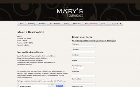 Screenshot of Hours Page marysfinedining.com - Reservations | - captured Oct. 1, 2016