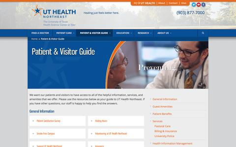 Screenshot of Services Page uthealth.org - UT Health Northeast  Patient & Visitor Guide - UT Health Northeast - captured Dec. 3, 2016