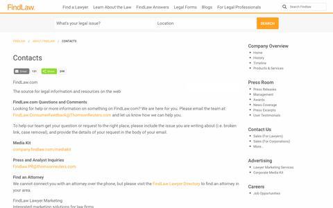 Screenshot of Contact Page findlaw.com - Contacts - FindLaw - captured Dec. 10, 2017