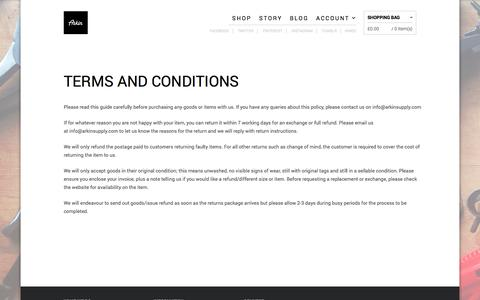 Screenshot of Terms Page arkinsupply.com - TERMS AND CONDITIONS • ARKIN - captured Nov. 2, 2014