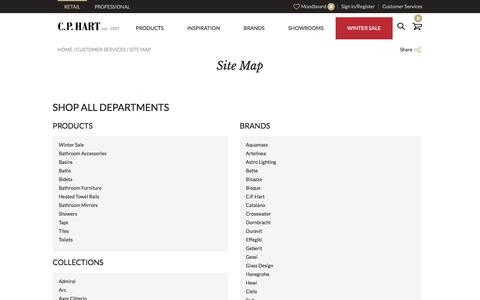 Screenshot of Site Map Page cphart.co.uk - Site Map | Customer Services | CP Hart - captured Dec. 29, 2016