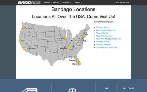 Screenshot of Locations Page bandago.com - Bandago | Locations - captured Dec. 29, 2015