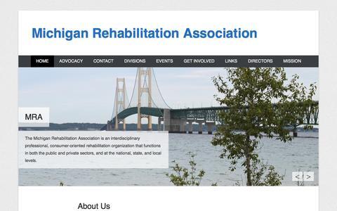 Screenshot of Home Page Menu Page michiganrehabilitationassociation.org - Michigan Rehabilitation Association - captured Sept. 30, 2014