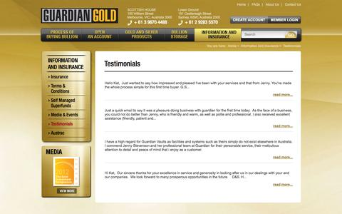 Screenshot of Testimonials Page guardian-gold.com.au - Testimonials - captured Sept. 30, 2014