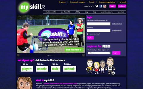 Screenshot of Home Page myskillz.co.uk - myskillz | Football Drills for Children & Adults | Rating System | Social Media Platform - captured Oct. 7, 2014