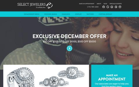 Screenshot of Home Page selectjewelers.com - Houston Jewelers | Jewelry Store | Select Jewelers - captured Dec. 19, 2015