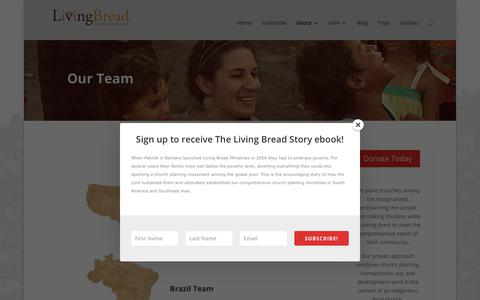 Screenshot of Team Page livingbread.org - Our Team - Living Bread Ministries - captured Sept. 29, 2018