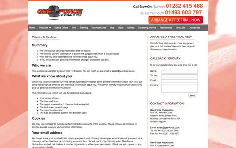 Screenshot of Privacy Page gee-force.co.uk - Gee-Force Hydraulics - captured Oct. 2, 2014
