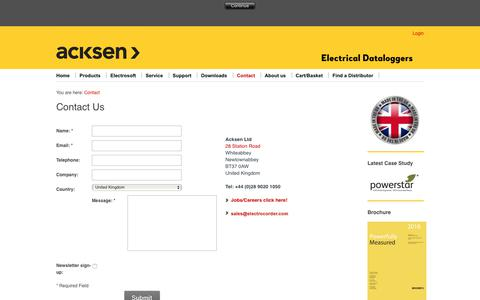 Screenshot of Contact Page electrocorder.com - Contact Acksen Ltd for Electrocorder Enquiries - captured Nov. 12, 2018