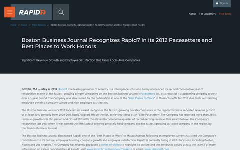 Screenshot of Press Page rapid7.com - Boston Business Journal Recognizes Rapid7 in its 2012 Pacesetters and Best Places to Work Honors   Rapid7 - captured March 9, 2018