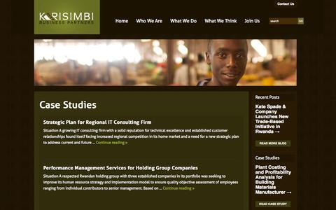 Screenshot of Case Studies Page karisimbipartners.com - Case Studies | Karisimbi Business Partners - captured Oct. 6, 2014
