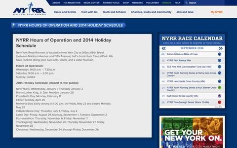 Screenshot of Hours Page nyrr.org - NYRR Hours of Operation and 2014 Holiday Schedule | NYRR - captured Sept. 19, 2014