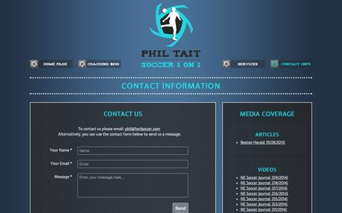 Screenshot of Contact Page 1on1soccer.com - Phil Tait Soccer 1 on 1 - Contact - captured Oct. 2, 2014