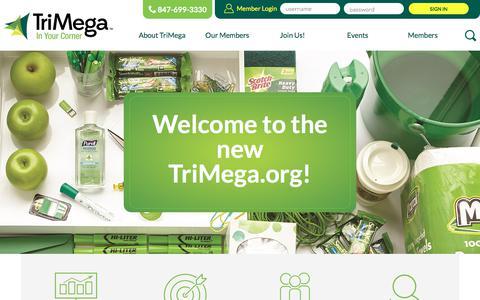 Screenshot of Home Page trimega.org - TriMega - TriMega Purchasing Association - In your Corner - captured May 14, 2018