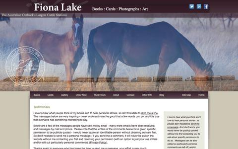 Screenshot of Testimonials Page fionalake.com.au - Australian coffee table books, outback cattle station photos, country landscapes - Fiona Lake - captured Sept. 2, 2016