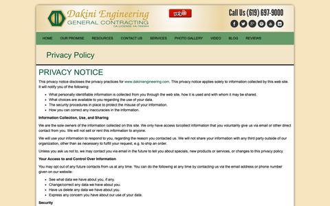 Screenshot of Privacy Page dakiniengineering.com - Privacy Policy - Dakini EngineeringDakini Engineering - captured Oct. 7, 2018