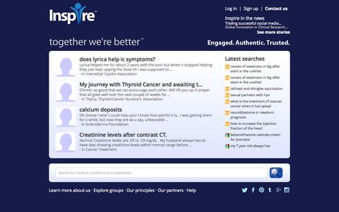 Screenshot of Home Page inspire.com - Health and wellness support groups - Inspire - captured Sept. 18, 2014