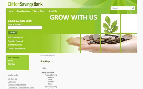 Screenshot of Site Map Page cliftonsavings.com - Site Map | Clifton Savings Bank - captured Nov. 2, 2014