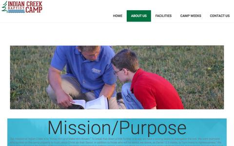 Screenshot of About Page indiancreekbaptistcamp.com - About Us – Indian Creek Baptist Camp - captured April 8, 2017