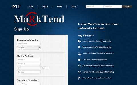 Screenshot of Signup Page marktend.com - MarkTend - Sign Up - captured Sept. 12, 2014