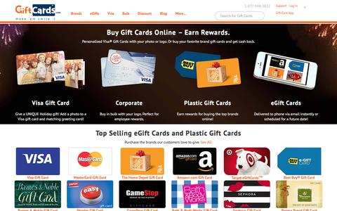 Screenshot of Home Page giftcards.com - GiftCards.com: Buy Gift Cards, eGift Cards, Visa & Discount - captured Jan. 1, 2016