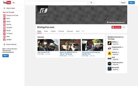Screenshot of YouTube Page youtube.com - Driving-Fun.com  - YouTube - captured Oct. 25, 2014