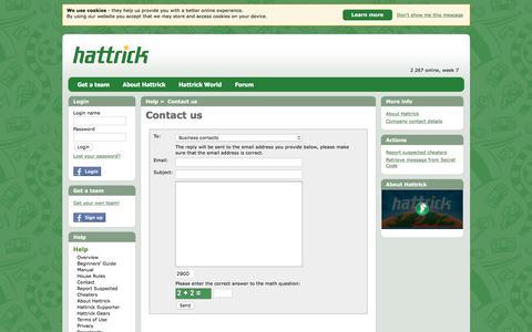 Screenshot of Contact Page hattrick.org - Contact us » Help » Hattrick - captured June 20, 2017