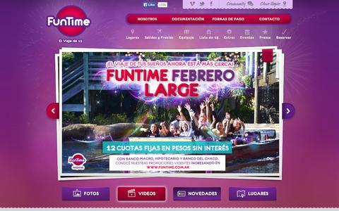 Screenshot of Home Page funtime.com.ar - FunTime - El Viaje de 15 a Disney, Miami y el Caribe - captured Sept. 30, 2014