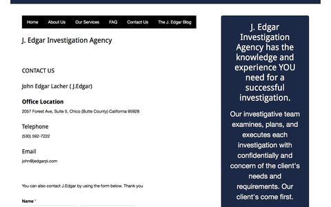 Screenshot of Contact Page jedgarpi.com - Contact Us - J. Edgar Investigation Agency - captured Sept. 29, 2017