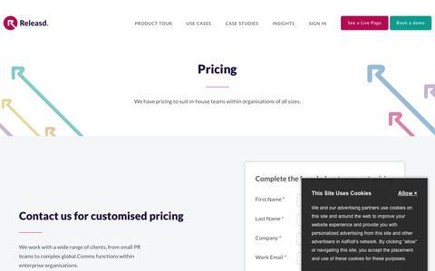 Screenshot of Pricing Page releasd.com - Pricing | Releasd - captured Oct. 19, 2018