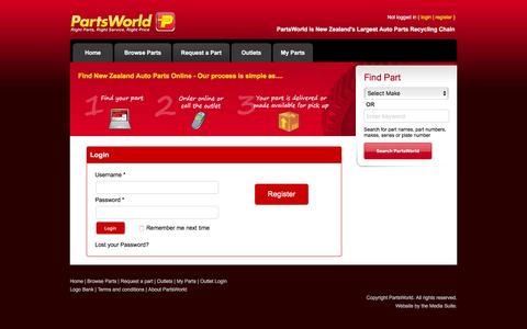 Screenshot of Login Page partsworld.co.nz - PartsWorld : Right Parts, Right Service, Right Price - captured June 16, 2016