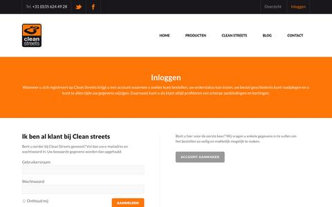 Screenshot of Login Page cleanstreets.nl - login - captured Sept. 29, 2014